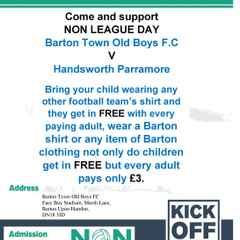 Event + Upcoming Fixture | Barton Town Old Boys FC vs Handsworth Parramore + Post Match Q&A session with Manager Paul Foot and Chairman Mark Gregory | Saturday 3rd September