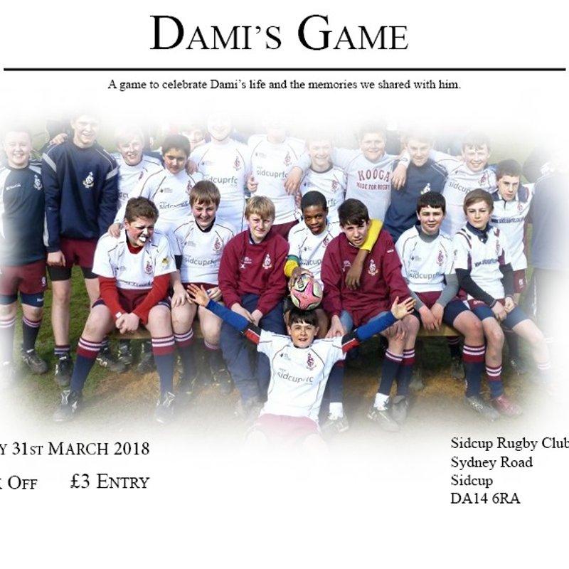Dami's Game - Saturday 31 March 2018