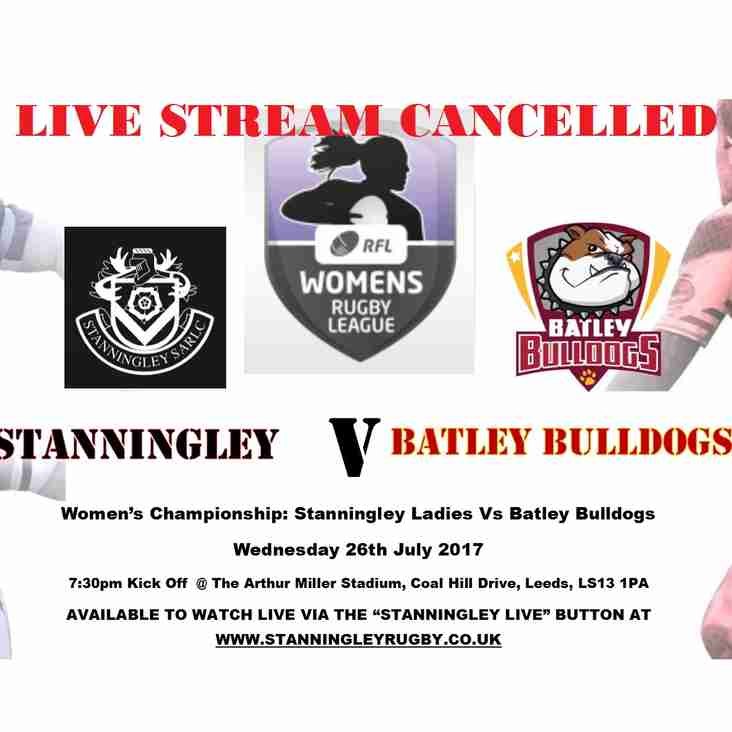 Ladies League Gets Under Way!! LIVE STREAM CANCELLED!!!