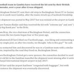 Buckingham United donates shirts to Gambian Club Buckingham United