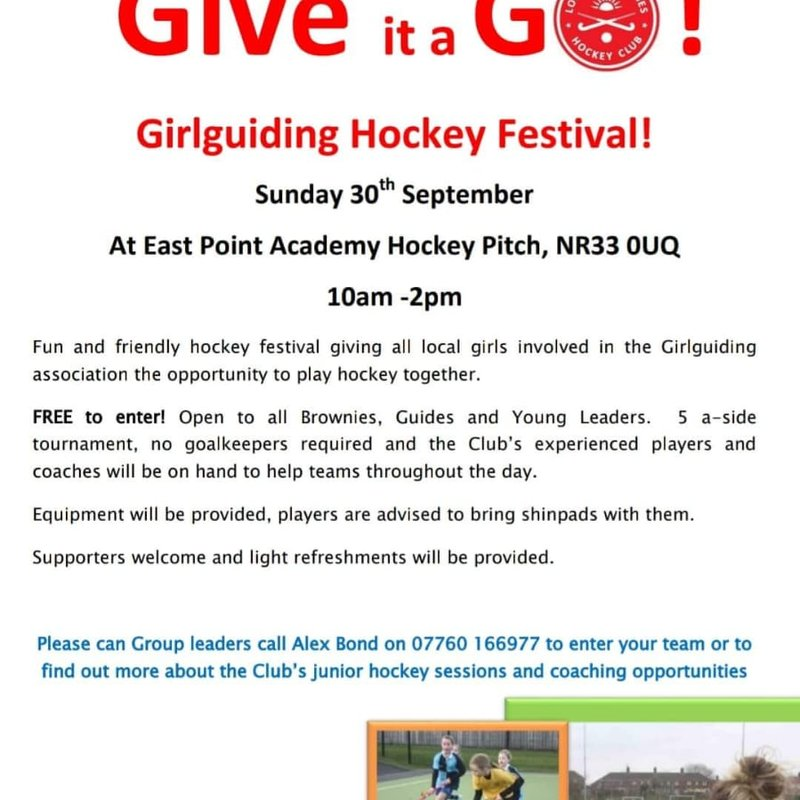 Hockey Festival Brownies and Guides - Sun 30th Sept 10-2pm