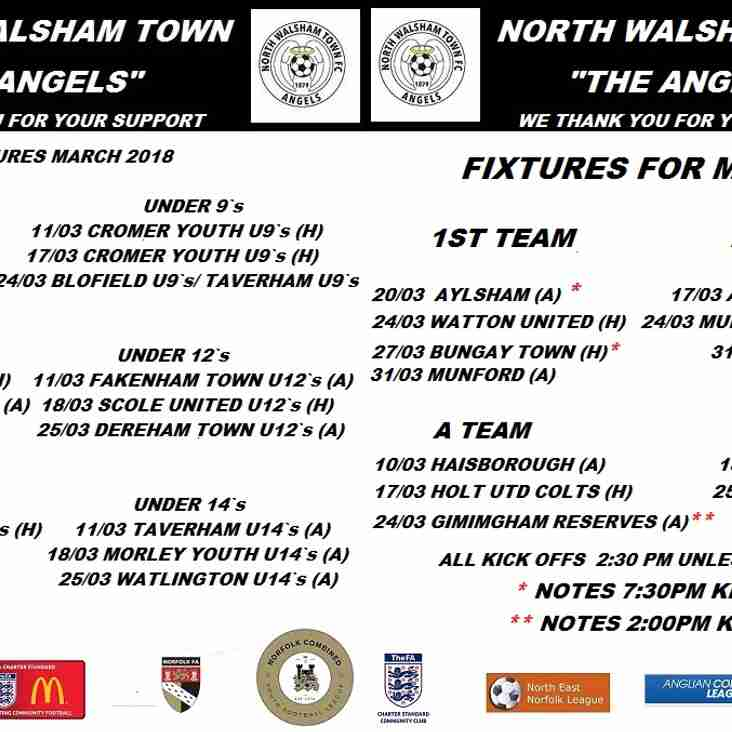 Remaining fixtures for March 2018