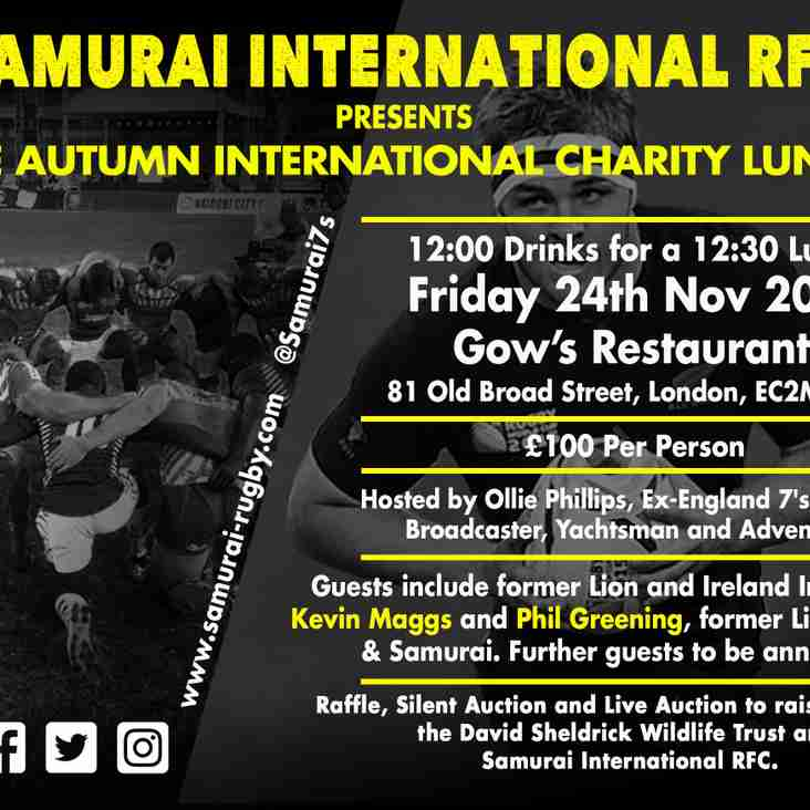 Autumn International Charity Rugby Lunch