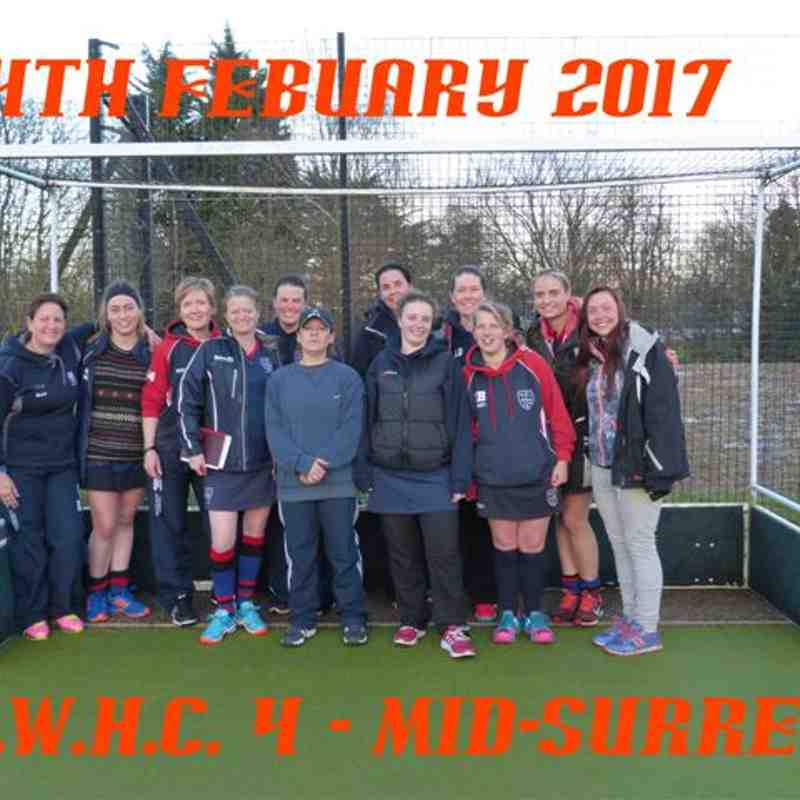Ladies 2s 4-0 win over Mid-Surrey - 4th February