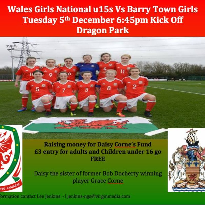 Barry to take on Wales U15 Girls in Charity Match