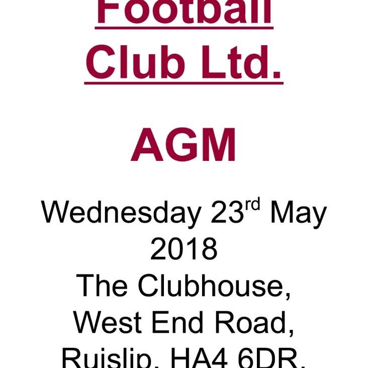 Ruislip Rugby Club AGM