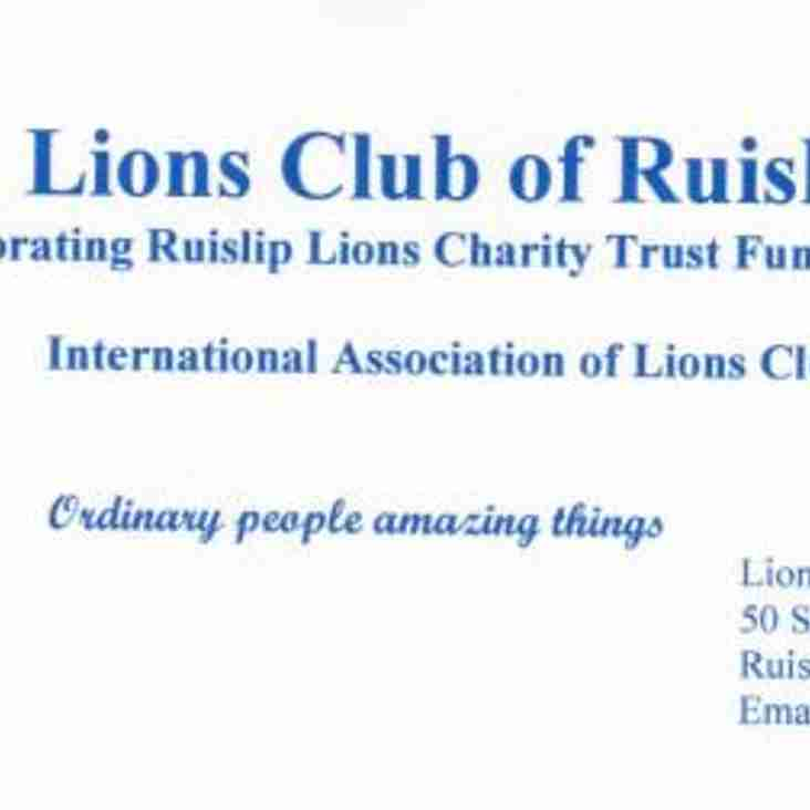 Thank You from the Lions Club of Ruislip