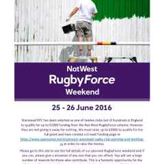 NatWest RugbyForce weekend 25-26th June 2016.