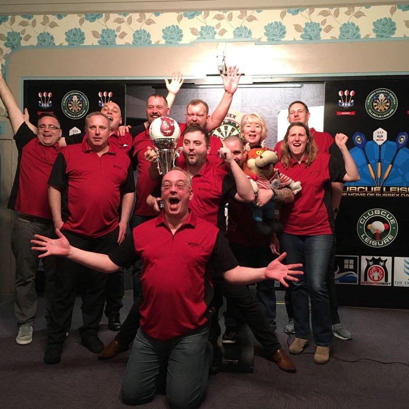 Darts team win league play-off