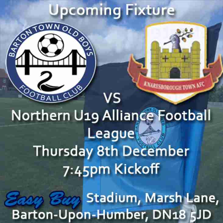 Upcoming Fixture | Barton Town Old Boys Under 19s vs Knaresborough Town | Thursday 8th December 2016 | 7:45pm Kickoff | Northern U19 Alliance Football League