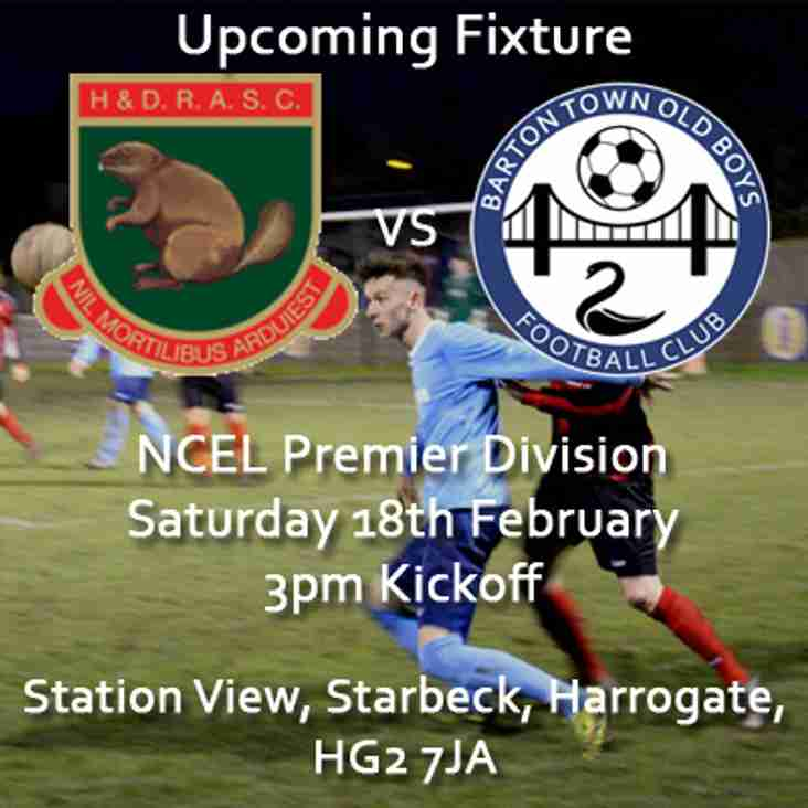 Upcoming Fixture | Harrogate Railway Athletic vs Barton Town Old Boys FC | Saturday 18th February | 3pm Kickoff | NCEL Premier Division