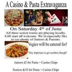 Casino and Pasta Extravaganza- Sat 4th June