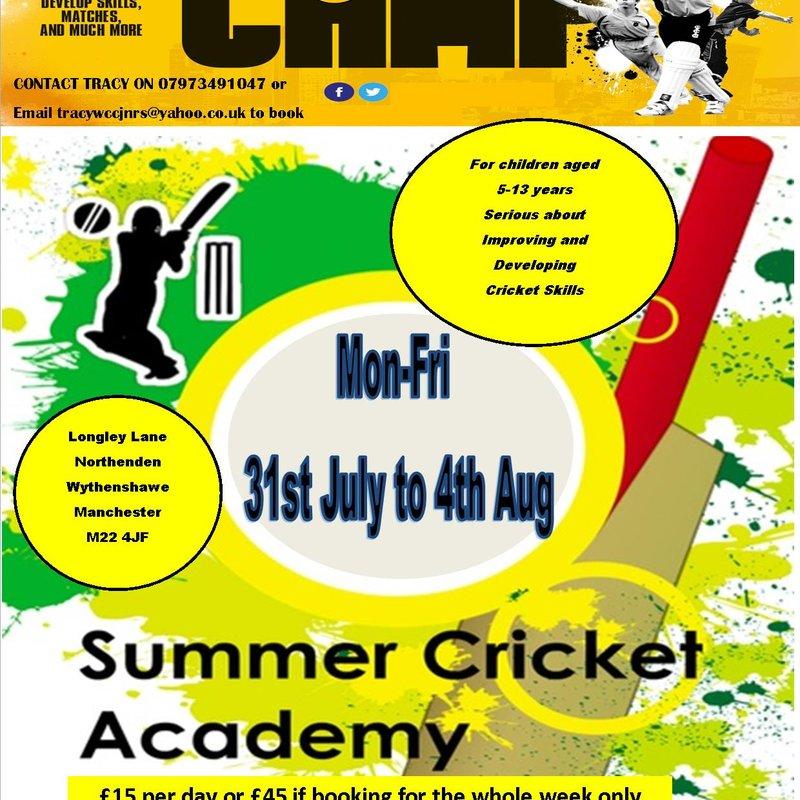 Annual Jnr Summer Cricket Skills Academy 31st July-4th Aug