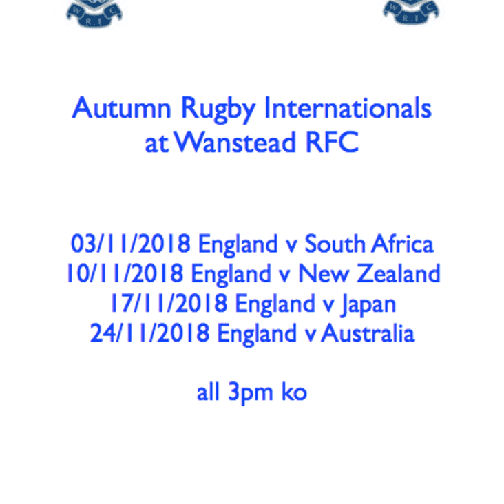 Autumn Internationals at the club