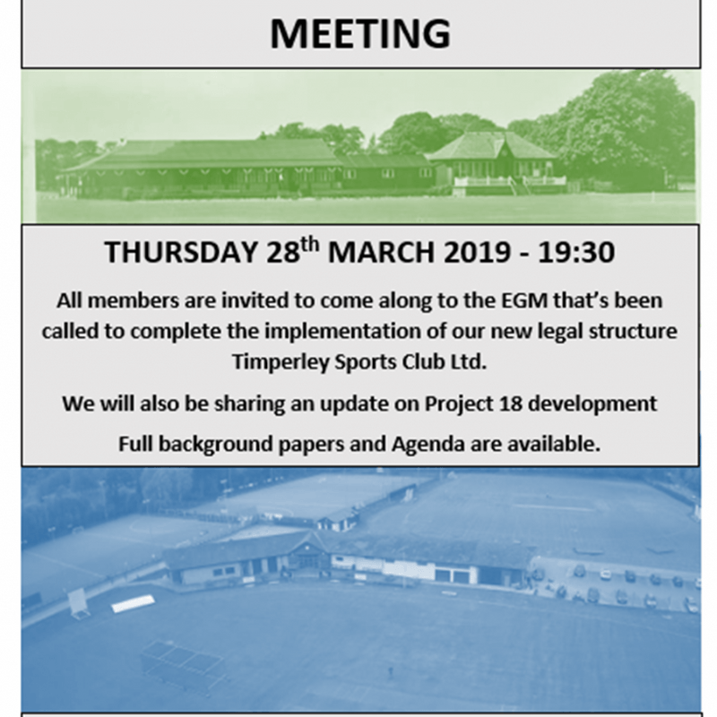 TSC - Extraordinary General Meeting - Thursday 28th March @ 7.30pm