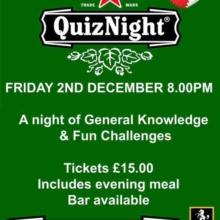 ERFC Quiz Night, Friday 2nd December