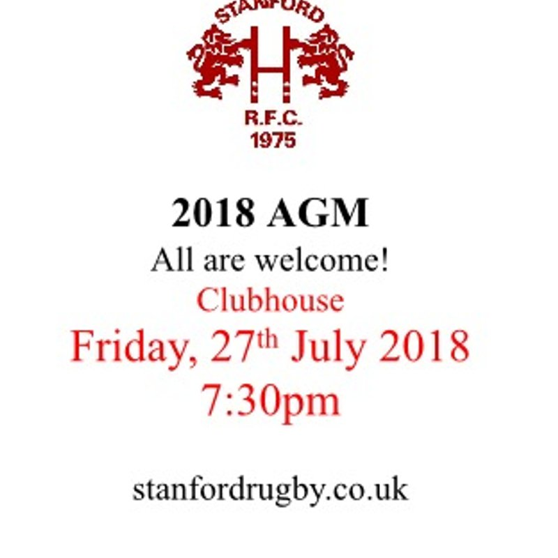 AGM Friday 27th July 7:30pm