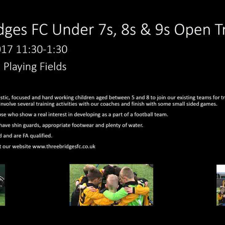 Under 7s, 8s and 9s Open Trials