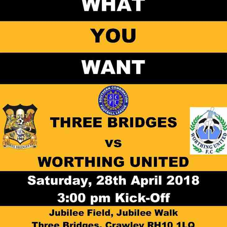 PAY WHAT YOU WANT TODAY! 1st vs Worthing United - Last game of the 1st team's season