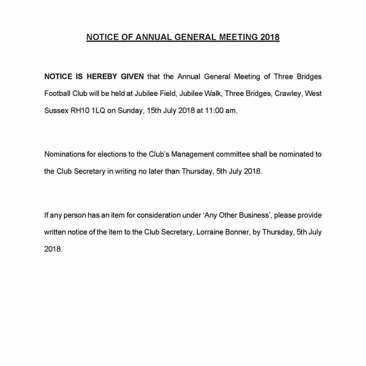AGM - 15th July 2018 at 11am