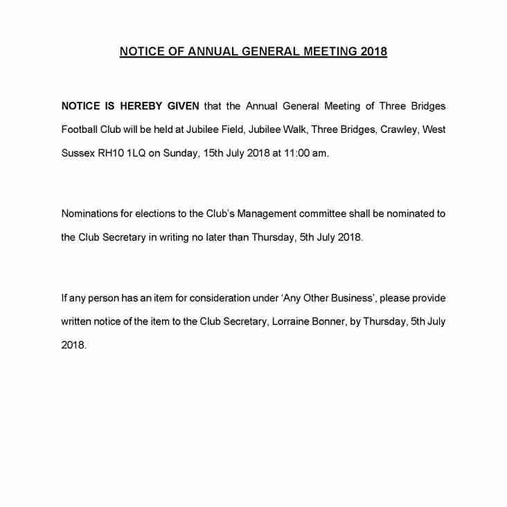 AGM - 15th July 2018 at 11am