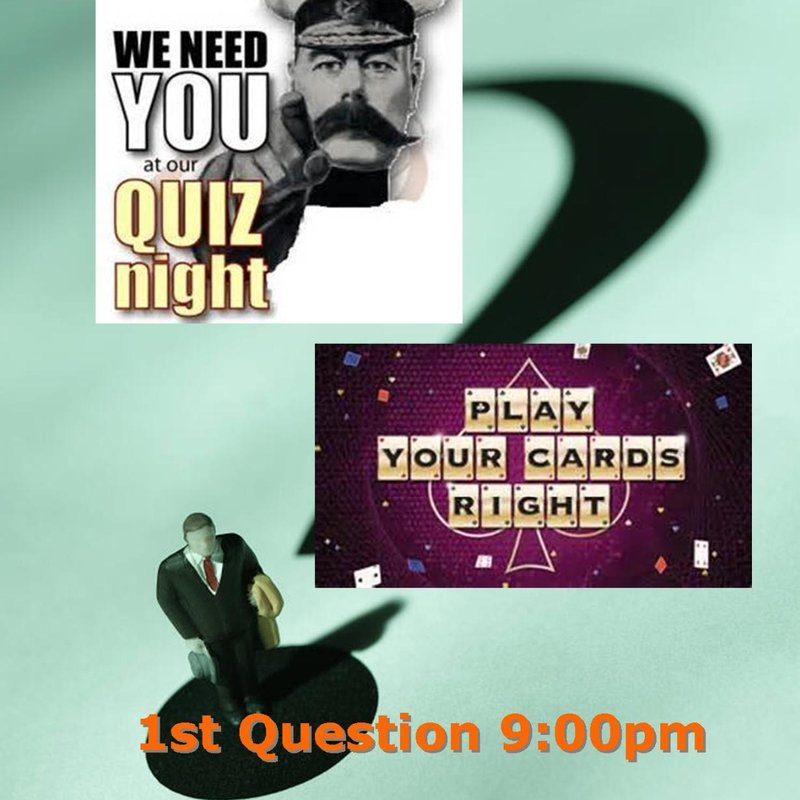 Quiz and Play Your Cards Right - 18th February 2017 from 9:00pm