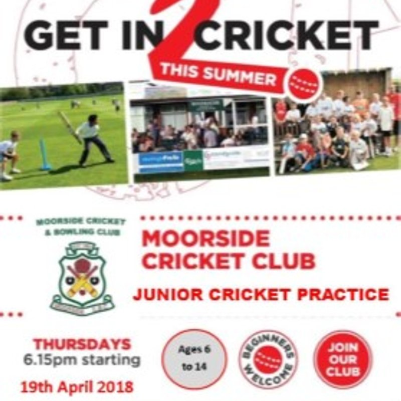 Junior Cricket Practice Nights starting on 19th April @ 6:15pm