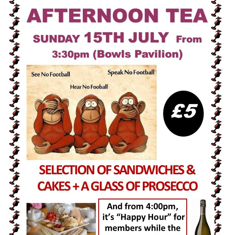 "A ""Prosecco Afternoon Tea"" on Sunday 15th July from 3:30pm for just a Fiver"
