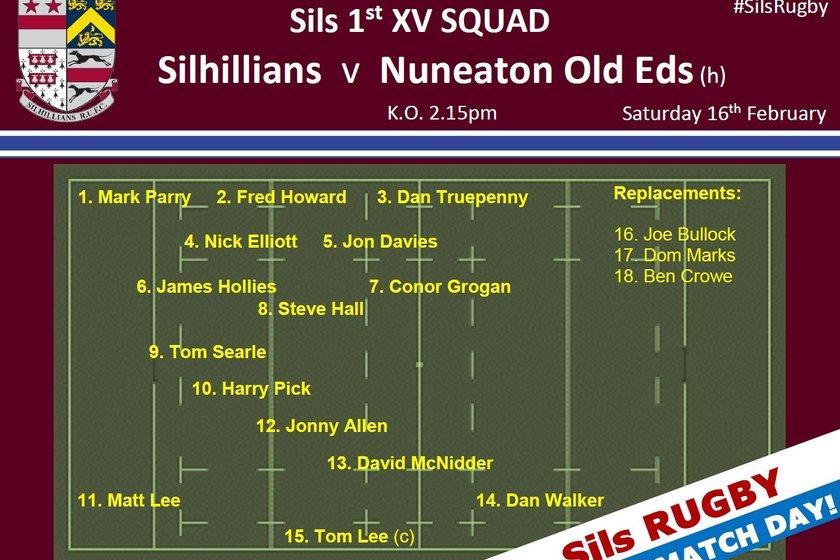 Match Day! 1st XV Squad - Sils v Nuneaton Old Eds (h) 2.15pm KO