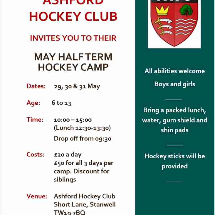 MAY HALF TERM HOCKEY CAMP