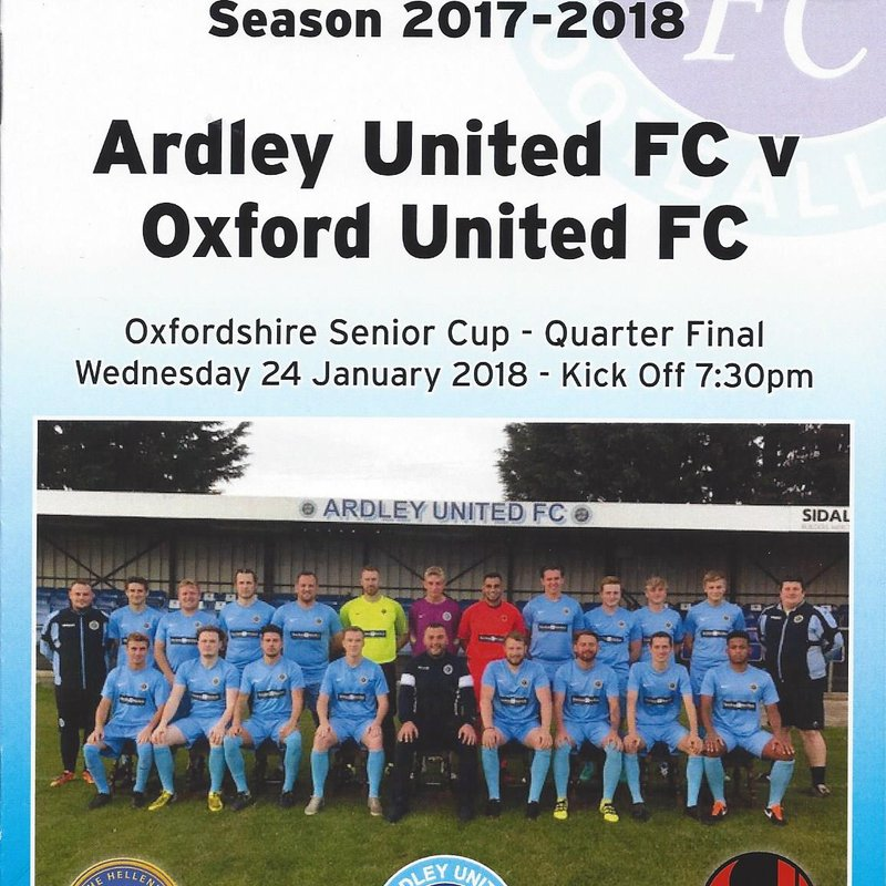 Senior Cup Quarter Final : Ardley 1 - 3 Oxford United (thanks to sportsshots.org.uk)