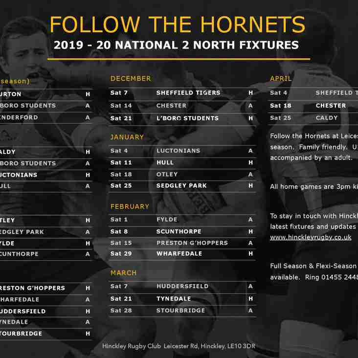 The Hornets To Attack The Season - 1st Team Fixture List 2019