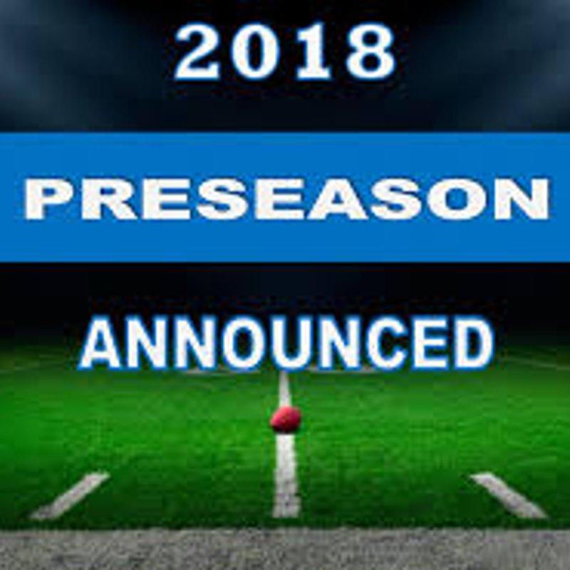 Pre -Season Schedule confirmed.