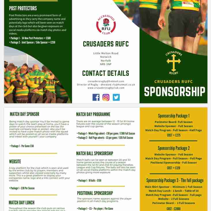 Sponsorship Opportunities 2019/20