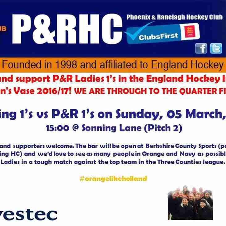 Come and support P&R Ladies 1's in the Women's Vase 2016/17!