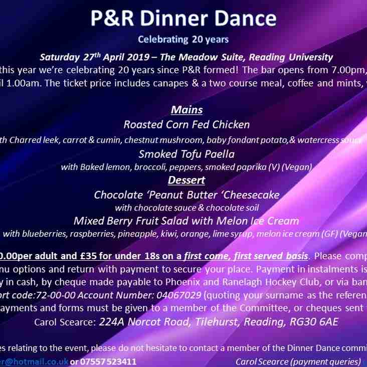 P&R 20th Anniversary Dinner Dance is coming!
