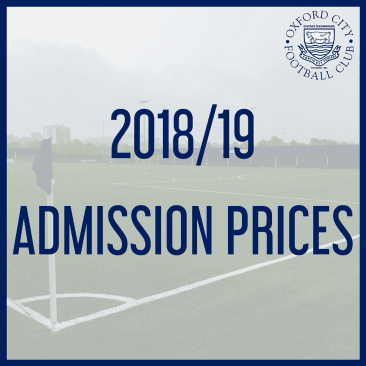 Admission & Season Tickets 2018/19
