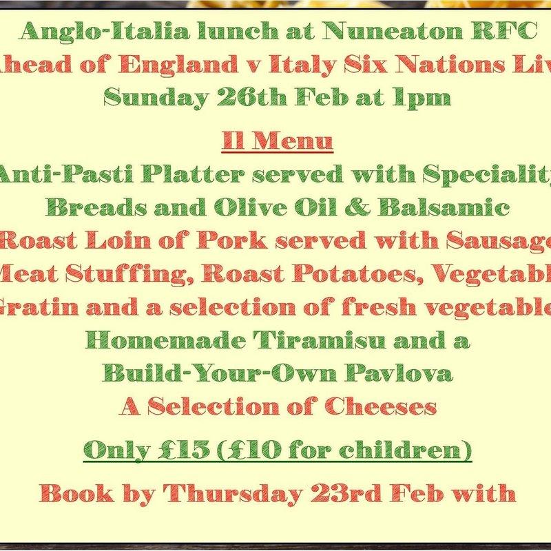 Anglo-Italia Lunch Pre England v Italy match - Menu reveal !