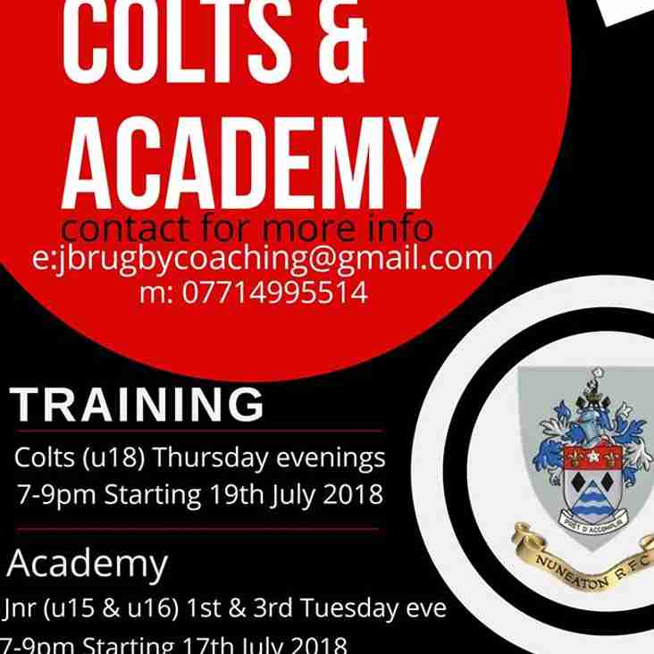 Nuns Colts & Academy Pre-Season dates released...