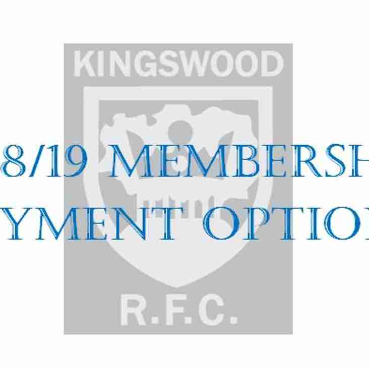 New Adult Membership Payment Options