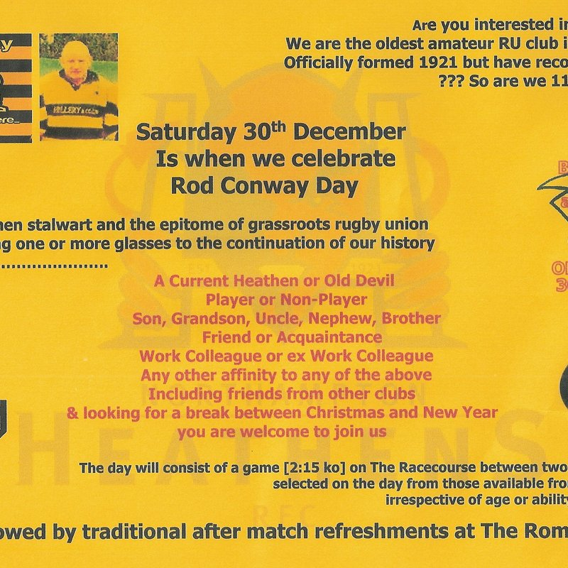 Rod Conway Day 30th December 2017