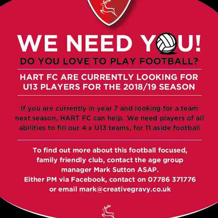 Hart Youth U13 Are Now Recruiting For The 2018/2019 Season