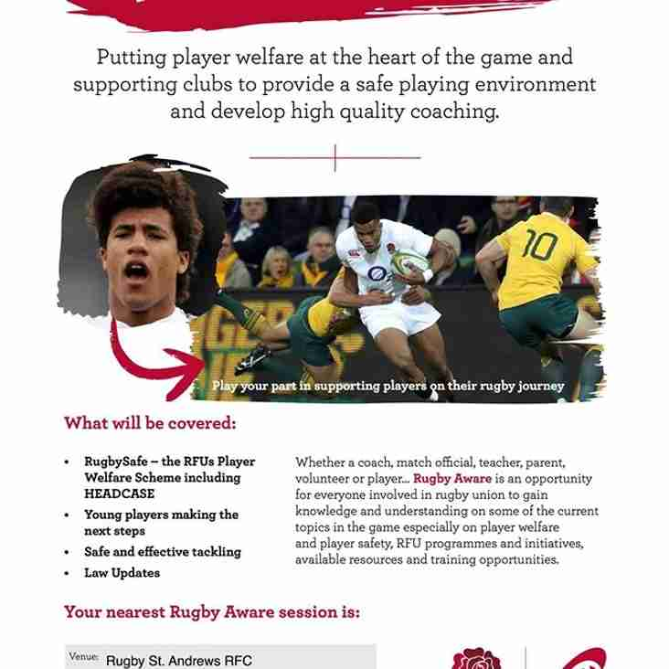 Rugby Aware Session - October 19th 19:00-21:30