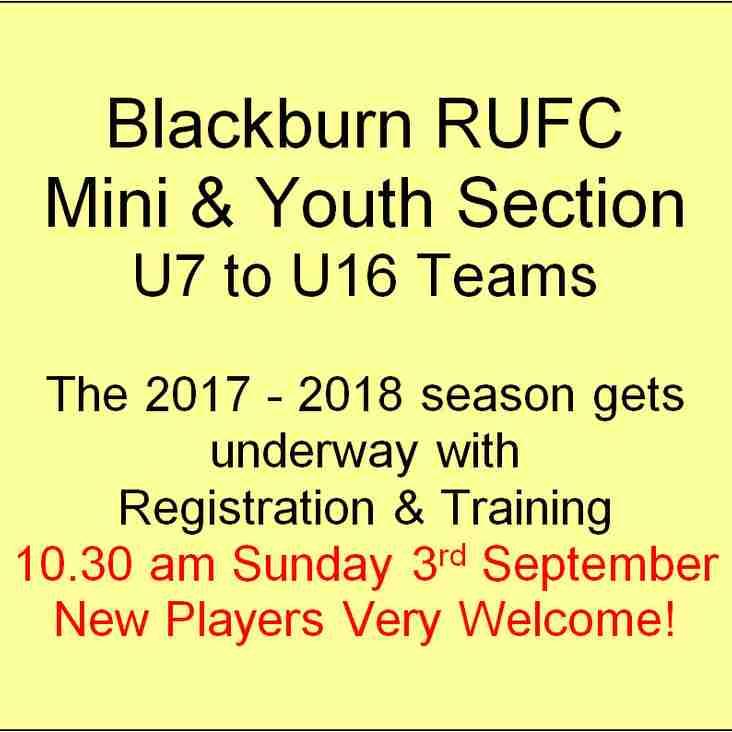 Registration for U7 to U16, 10.30am Sunday 3rd September.