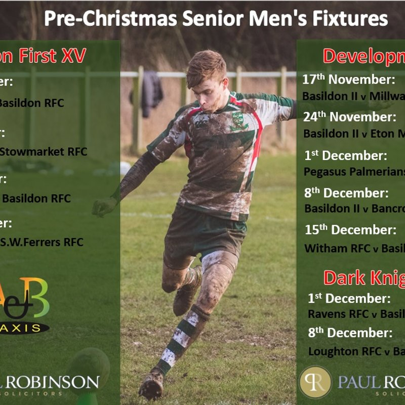 Pre Christmas Senior Mens Fixtures 2018.