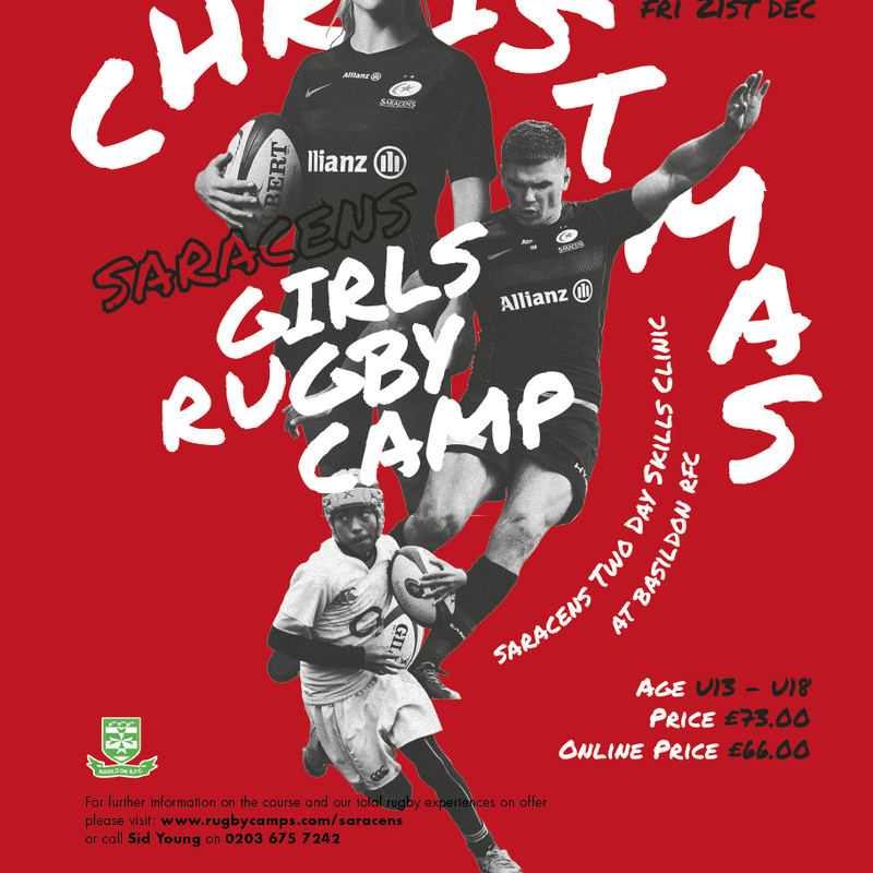 Saracens Christmas Rugby Camp 2018 hosted by Basildon Rugby Club