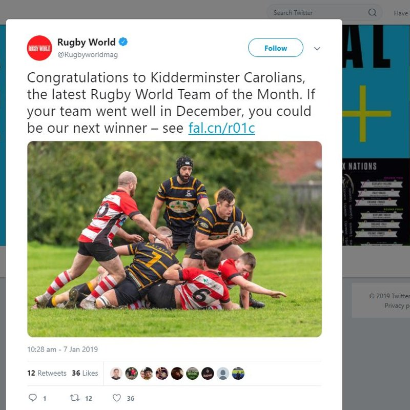 KC's are Rugby World's Team of the Month!!