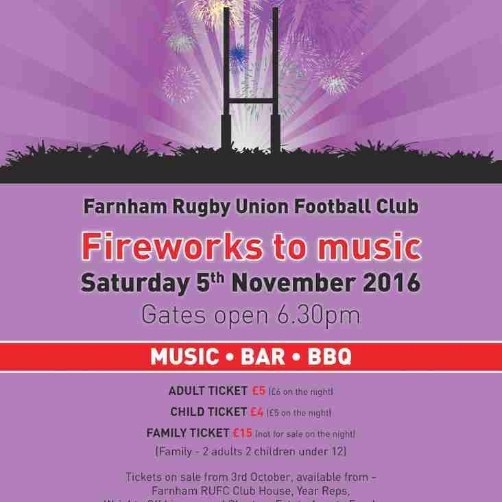 Rugby Club Fireworks Night  - sponsored by Charters  Estate Agents