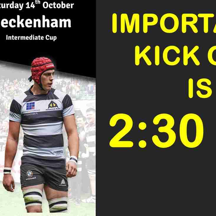 Cup game: Farnham v Beckenham (2:30 pm)