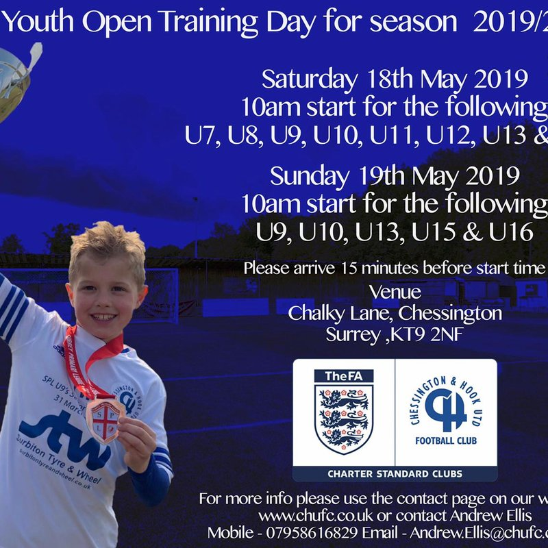 Open Training Day for new players for next season 2019/20 on Saturday 18th May and Sunday 19th May
